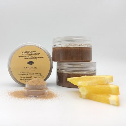Scrub ζάχαρης για απολέπιση και τόνωση με πούδρα αγριοκέρασου
