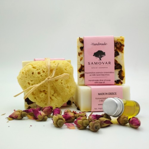 Ενυδατικό σαπούνι με έλαιο τριαντάφυλλου και σφουγγάρι Καλύμνου για το πρόσωπο